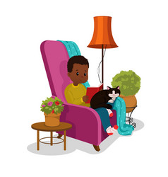 school boy reading a book in a armchair cartoon vector image