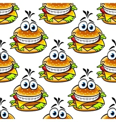 Seamless cartoon cheeseburger pattern vector