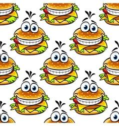 Seamless cartoon cheeseburger pattern vector image