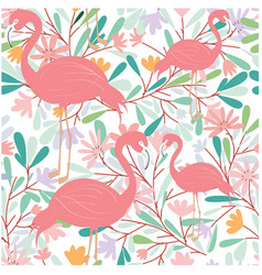 Seamless pattern of flamingo bird in tropical vector