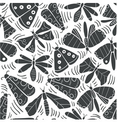 seamless pattern with decorative butterflies moth vector image