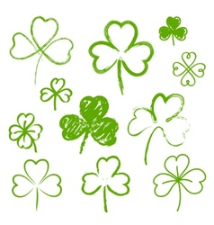 set hand drawn clovers vector image