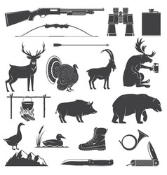Set hunting equipment and animal icon vector