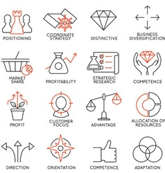 Set of icons related to business management - 3 vector image