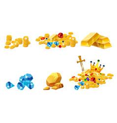 set treasure gold coins rock gold nugget bars vector image