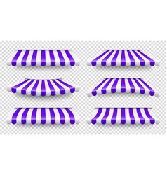 Shop sunshade realistic striped cafe awning vector