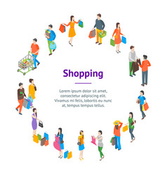 shopping people 3d banner card circle isometric vector image