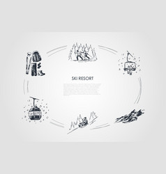 ski resort - equipment and clothes vector image
