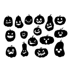 Spooky halloween pumpkins silhouettes vector