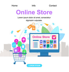 Square banner with copy space online store vector