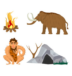 Stone age or neanderthal man household flat vector