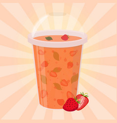 Strawberry detox drink cartoon flat style vector