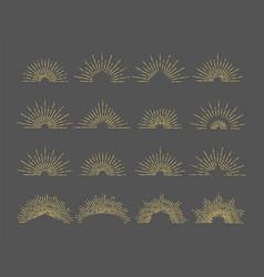 sunburst emblem line radial rays vector image