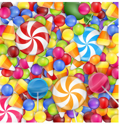 Sweets background with lollipop candy corn and gu vector