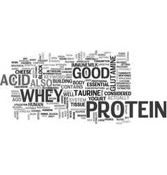 Whey protein is good for you text word cloud vector