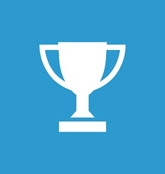 Winner cup icon white on the blue background vector