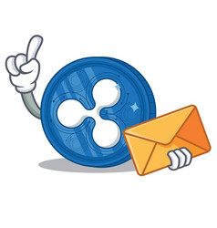 With envelope ripple coin character cartoon vector