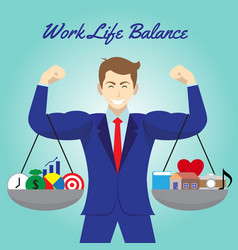 work life balance icons hanging on arms of vector image