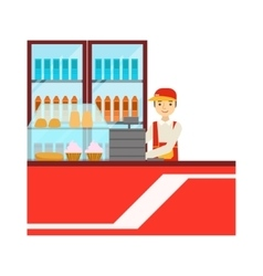 Worker In Red Uniform With Fridge With Drinks vector image