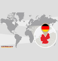 world map with magnified germany vector image