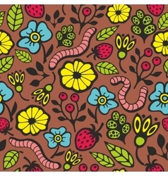 Worms on the ground seamless pattern vector image