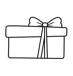 wrapped gift box decoration merry christmas line vector image