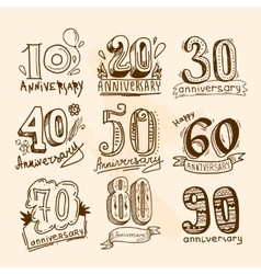Anniversary signs set vector image