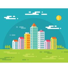 Buildings in city - flat vector image