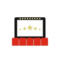 Cinema auditorium with screen and seats icon vector image
