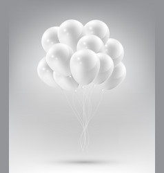flying realistic glossy white balloons vector image vector image