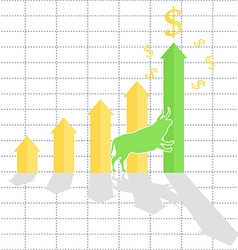 Growth chart bull trend on stock market vector image