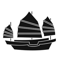 junk boat icon simple style vector image