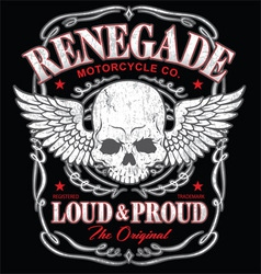 Renegade winged skull graphic vector image vector image