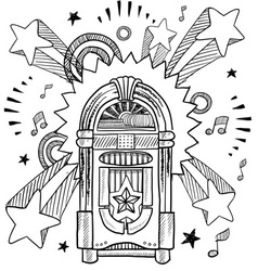 doodle pop jukebox music vector image vector image