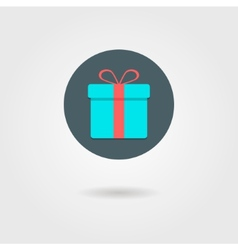 gift box in the circle with shadow vector image