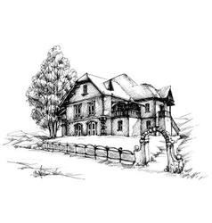 Holiday house sketch vector image vector image