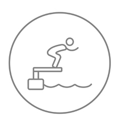 Swimmer jumping from starting block in pool line vector image