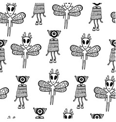 Ufo alien seamless pattern hand drawn coloring vector