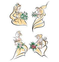 Blonde brides in doodle sketch style vector