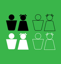boy and girl icon black and white color set vector image
