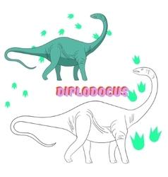 Educational game coloring book dinosaur vector