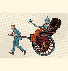 people rickshaw ride robot vector image