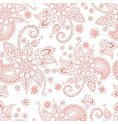 Pink floral ornate pattern on white background vector image