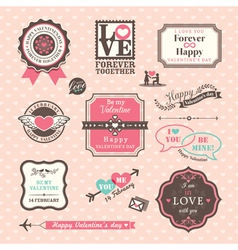 Valentines day Elements labels and frames Vintage vector image vector image