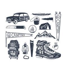 vintage hand drawn adventure symbols hiking vector image