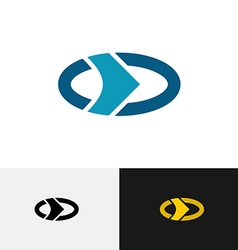 Oval logo with outer circle and right arrow inside vector image vector image