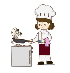 pretty chef making delicious food she tossing vector image