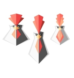 set of logos with roosters rooster head vector image