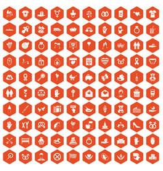 100 love icons hexagon orange vector