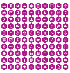 100 stylist icons hexagon violet vector